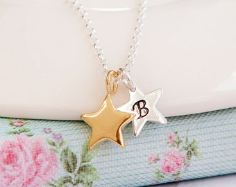 Star Necklace - Gold Initial Necklace - Personalised Gold Star Necklace - Mum Birthday Gift - Star Jewellery - Star Initial Necklace