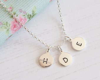 Sterling Silver Three Initial Necklace - Birthday Gift Idea - Personalised Disc Necklace - Birthday Gift for Mum - Three Sister Necklace