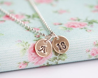 18th Birthday Gift for Her - Personalised Gold Initial Necklace - 21st Birthday - 30th Birthday - Anniversary Gift - 14k Gold Discs