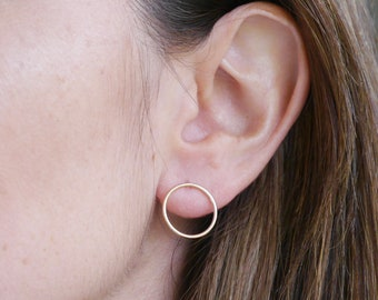 Gold Open Circle Earrings ∙ 14k Gold Filled Studs ∙ Large Stud Earring ∙ Gold Discs ∙ Birthday Gift Idea for Her ∙ Christmas Stocking Filler