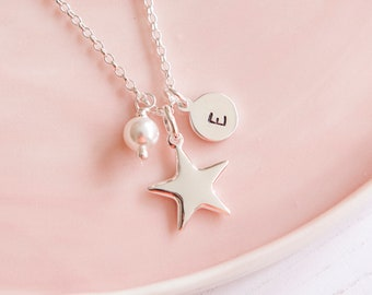 Sterling Silver Star Necklace - Birthday Gift Idea - Silver Initial Necklace - Personalised Necklace - Pearl Necklace - Christmas Present