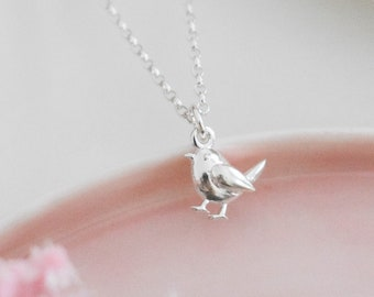 Solid Sterling Silver 3D Robin Necklace • Birthday Gift • Bird Jewellery • Silver Pendant • Christmas Present • Stocking Filler for Her