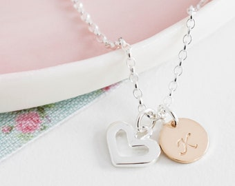 Personalised Initial Necklace ∙ Gold Disc and Silver Heart ∙ Birthday Gift for Her ∙ Ellis & Pip ∙ Silver and Gold • Christmas Present