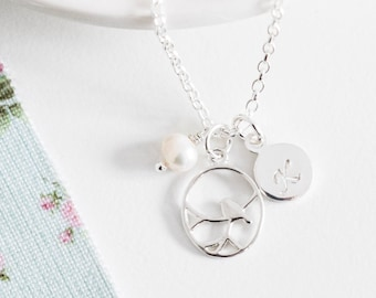 Personalised Nightingale Bird Necklace ∙ Sterling Silver Initial Necklace ∙ Birthday Gift for Her ∙ Pearl Jewellery • Christmas Present
