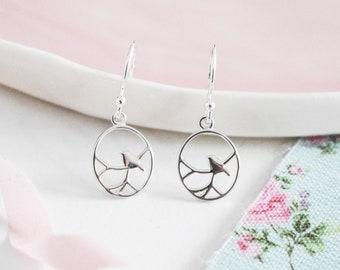 Sterling Silver Nightingale Bird Earrings ∙ Silver Earrings ∙ Dangle or Drop Earring ∙ Birthday Gift for Her ∙ Christmas Stocking Filler