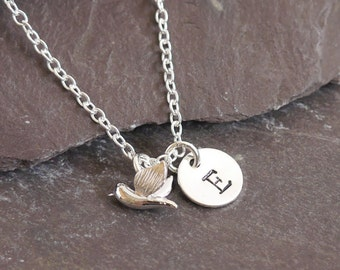 Tiny Bird Necklace with Initial - Personalised - Birthday Gift - Silver Bird Necklace - Bird Jewellery - Birthday Gift • Christmas