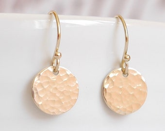 Hammered Gold Disc Earrings ∙ 14k Gold Filled Dangle Earrings ∙ Bridal Bridesmaid Jewellery ∙ Birthday Gift ∙ Christmas Stocking Filler