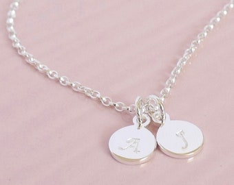 Double Initial Necklace ∙ Sterling Silver Disc Necklace ∙ Two Initial ∙ Personalised ∙ Two Children ∙ Birthday Gift ∙ Christmas Present