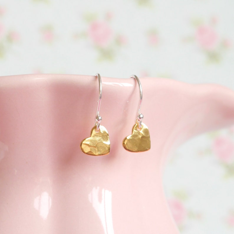 Gold Heart Drop Earrings  Tilted Heart Charm  Gift For Her  image 0