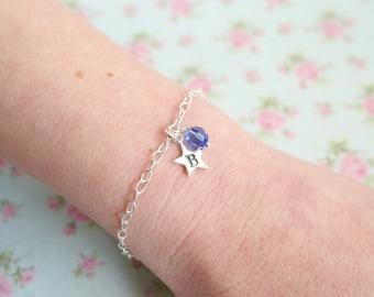 Birthstone Bracelet - Star Bracelet - Initial Bracelet - Friend Gift - Personalised Bracelet - Sterling Silver - October Birthday Gift