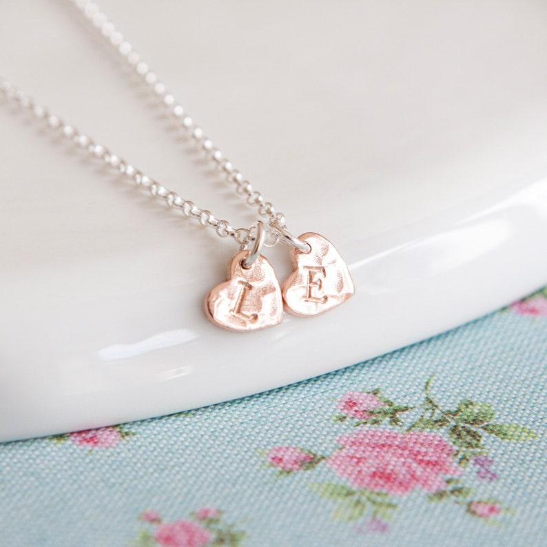 Personalised Rose Gold Heart Necklace  Birthday Gift Idea  2 Hearts