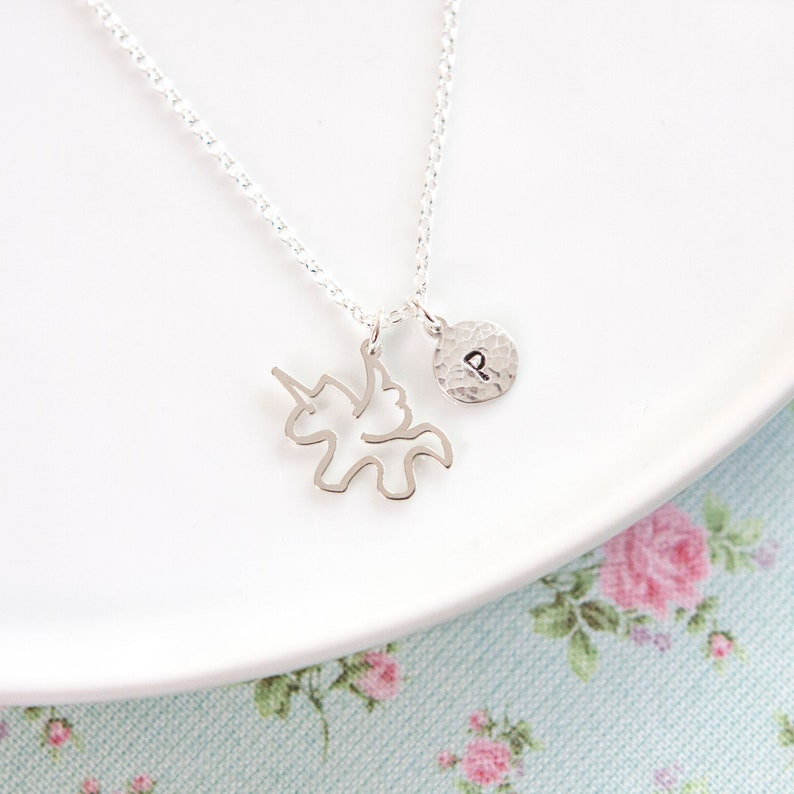Unicorn Necklace  Personalised   Sterling Silver  Gift for image 0