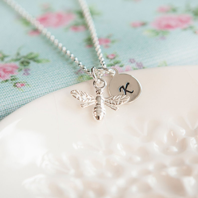 Bumble Bee Necklace  Personalised Honey Bee Gift  Initial image 0