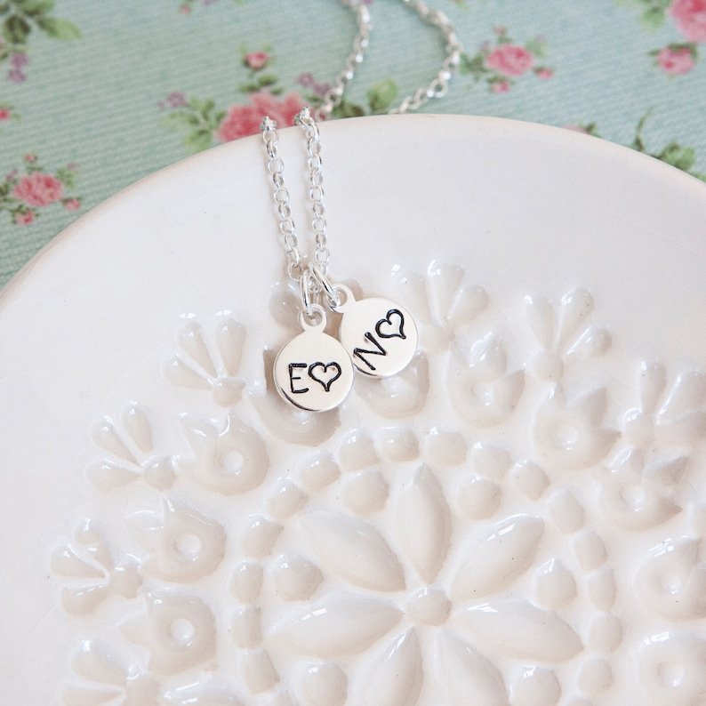 Sterling Silver Initials Necklace  Birthday Gift Idea  image 1