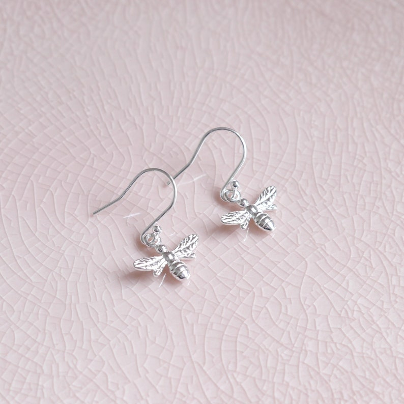 Sterling Silver Bee Earrings  Birthday Gift  Gift For Her  image 0