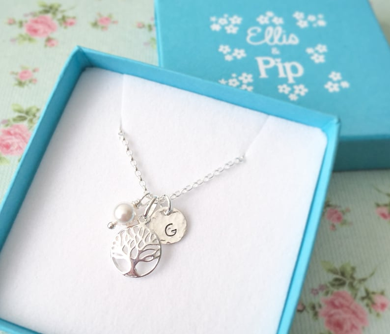 Personalised Tree of Life Necklace  Gift for Wife  Sterling image 0