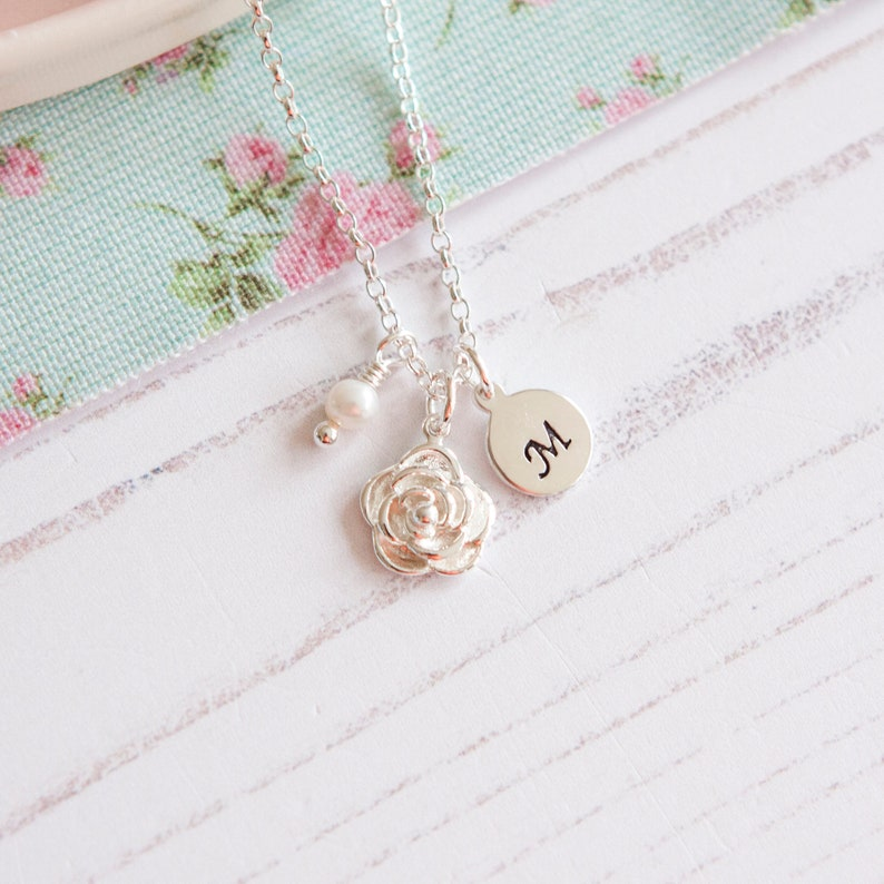 Sterling Silver Rose Necklace  Birthday Gift for Her  Nanny image 0