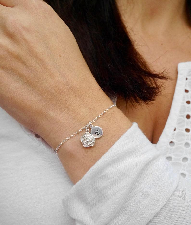 Rose Bracelet  Bridesmaid Bracelet  Personalised Friendship image 0