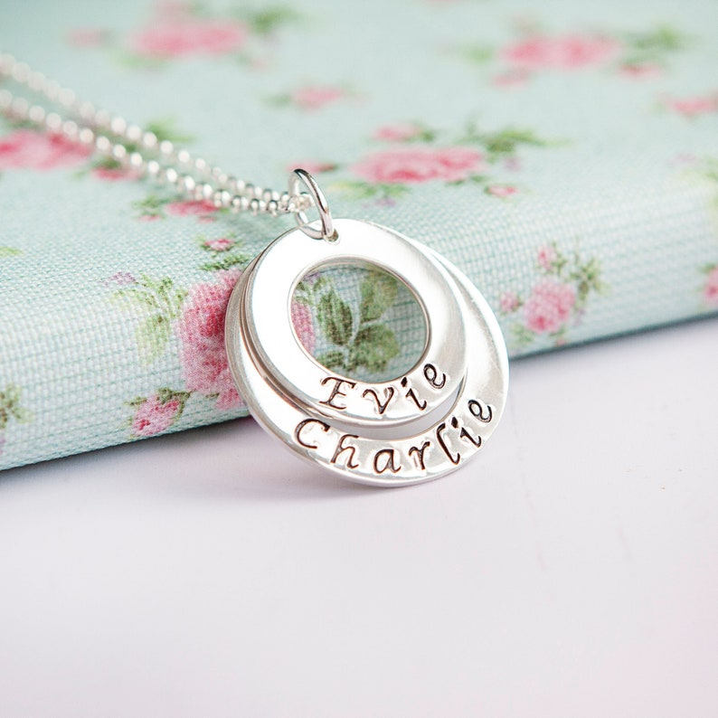 Child Name Necklace  Personalised Layered Mothers Necklace  image 0