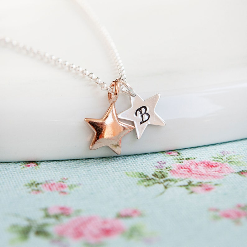 Rose Gold Initial Necklace  Star Necklace  Rose Gold image 0