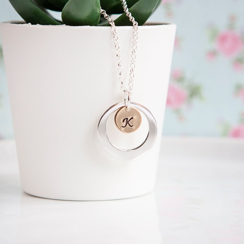 Gold Initial Necklace  Open Circle Necklace  Gold & Silver  image 0