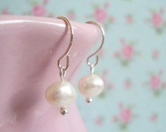 Freshwater Pearl Earrings - Nanny Gift - Birthday Gift for Her - Dangle or Drop Earrings - Sterling Silver ∙ Christmas Stocking Filler