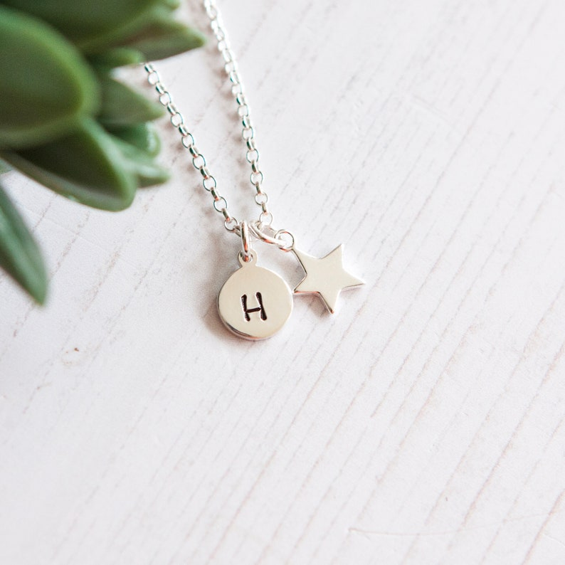 Sterling Silver Star Necklace with Initial  Personalised Star 1 Disc