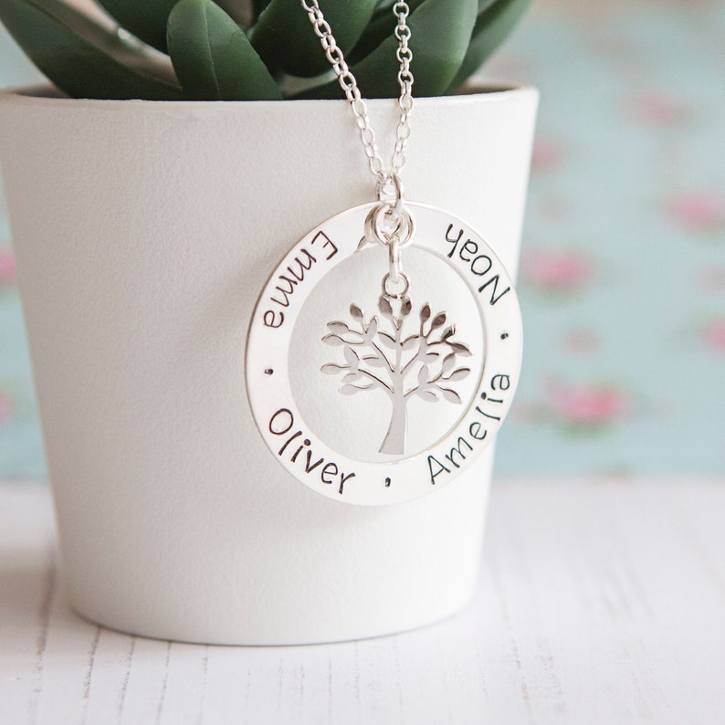Birthday Gift for Mum  Sterling Silver Family Tree Necklace  image 0