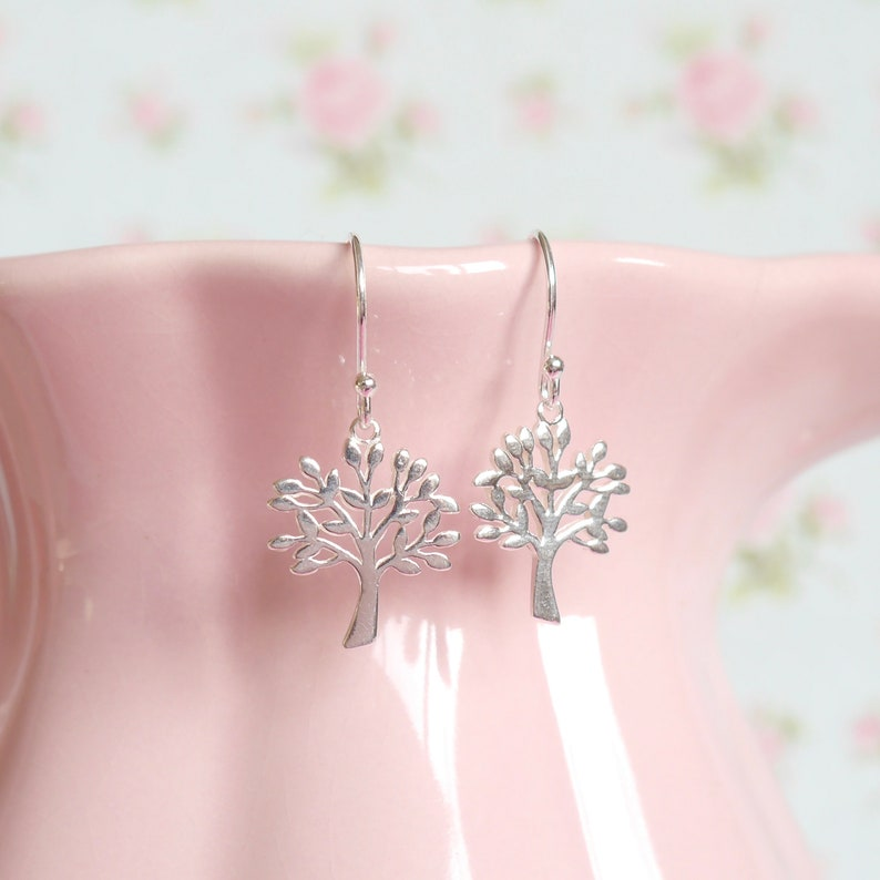 Sterling Silver Tree of Life Earrings  Birthday Gift for Her image 0