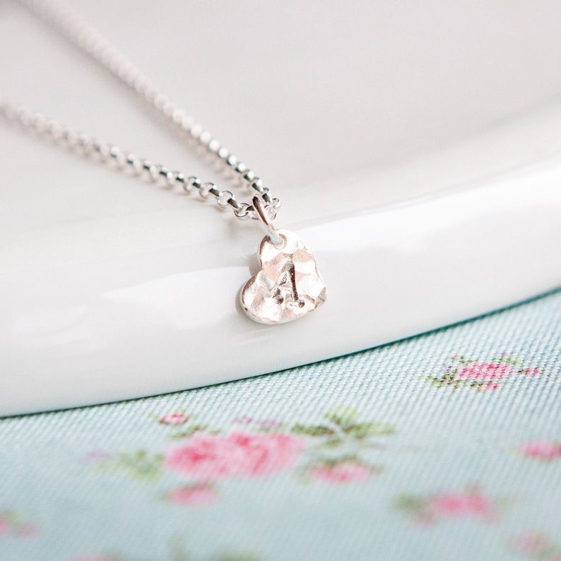 Silver Heart Necklace  Friend Gift  Personalised Necklace  image 0