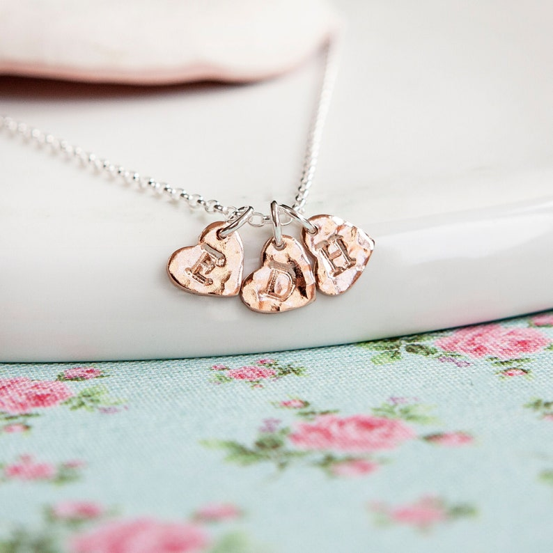 Rose Gold Necklace  Three Heart Necklace  Mothers Pendant  image 0