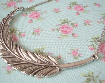 Feather Necklace - Large Antique Silver Statement Necklace - Feather Jewellery