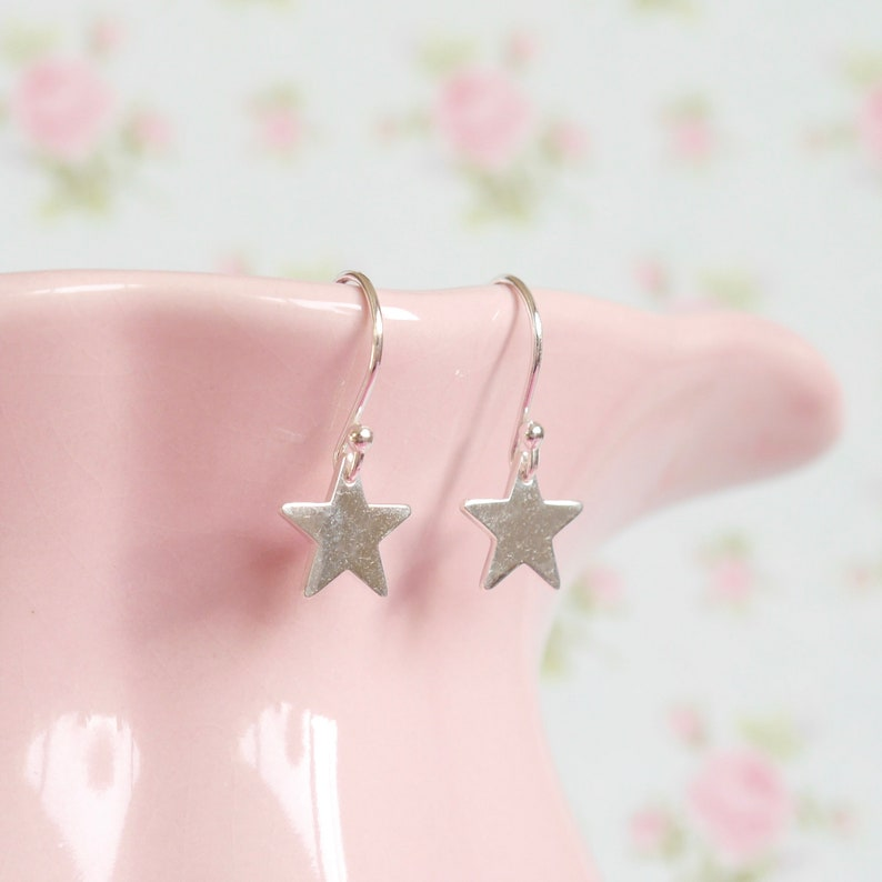 Sterling Silver Star Earrings  Birthday Present Idea for Mum image 0