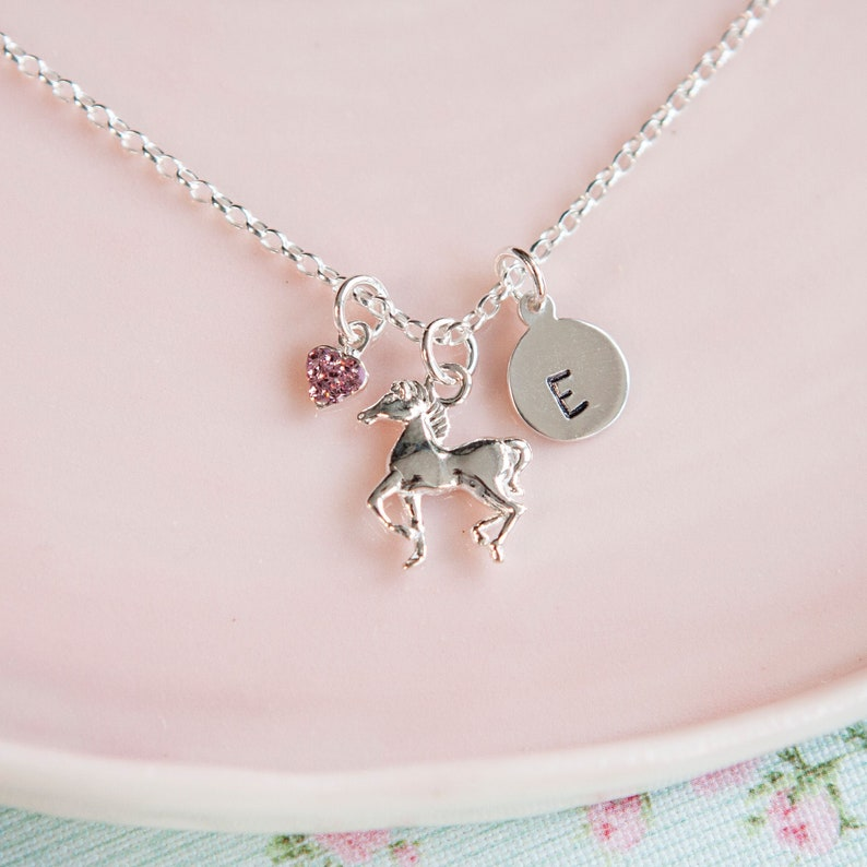 Horse Necklace  Personalised Gift for Girl  Equestrian image 0