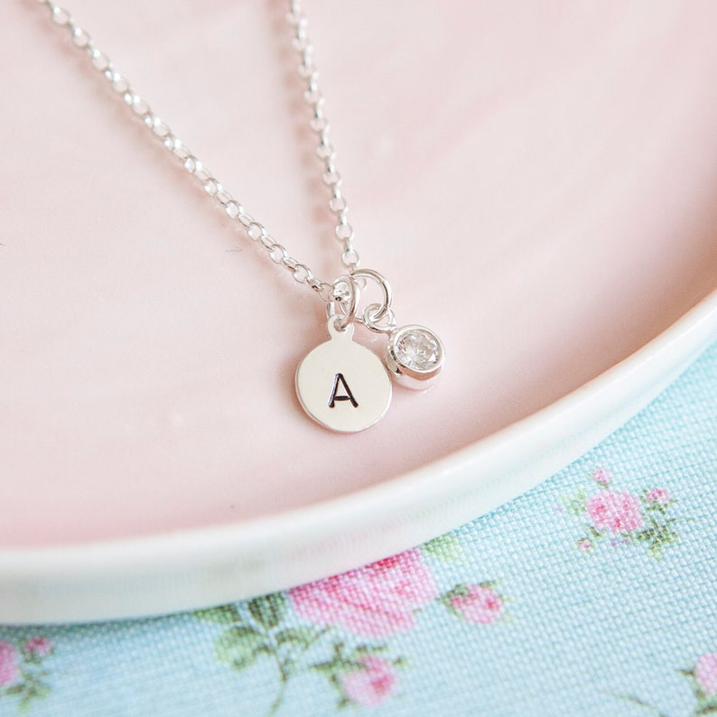 Sterling Silver Initial Necklace  Gift for Her  Personalised image 0