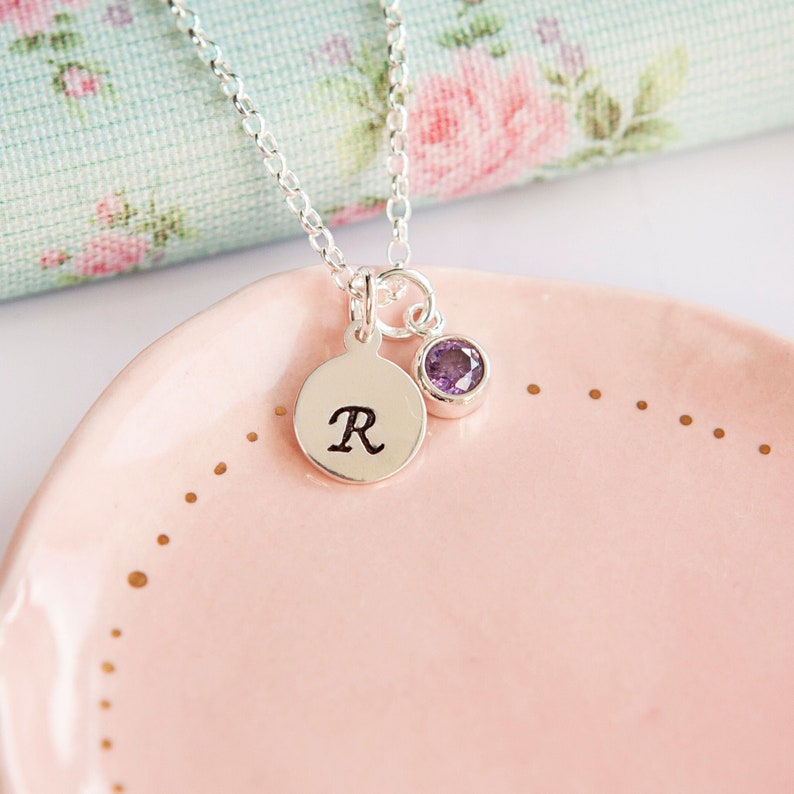 Birthstone Necklace  Personalised Birthday Gift  Initial image 0