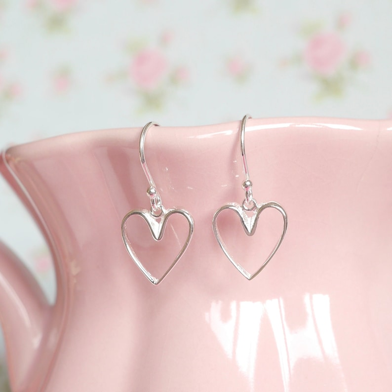 Sterling Silver Heart Earrings  Birthday Gift Idea for Her  image 0