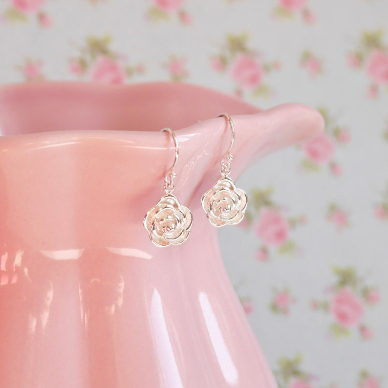 Sterling Silver Rose Earrings  Birthday Gift Idea  Christmas image 0