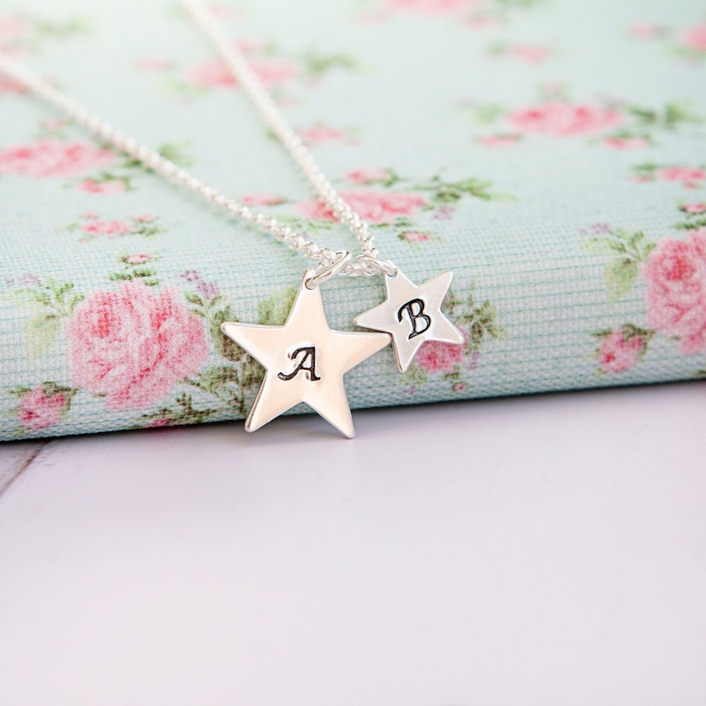 Family Star Necklace  Big Star Little Star  Personalised image 0