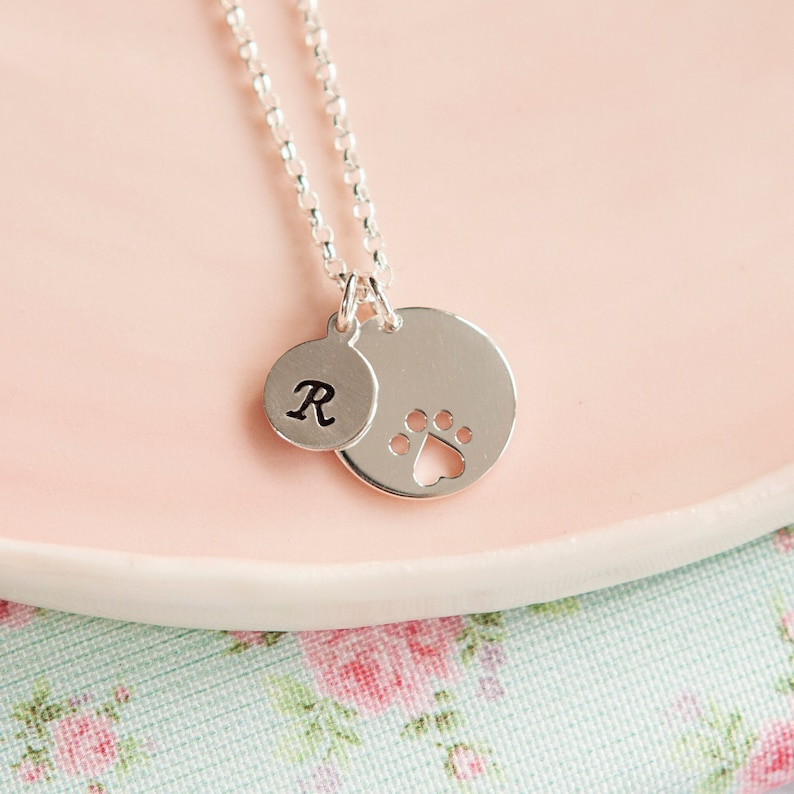 Paw Print Necklace  Personalised Dog Pendant  Pet Necklace  image 0
