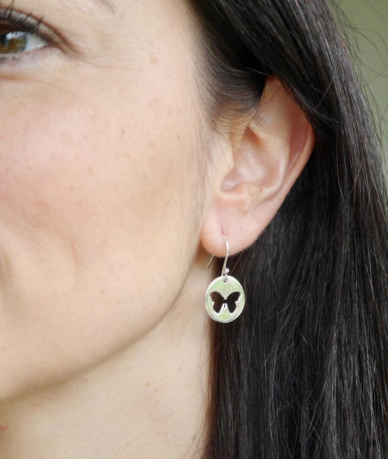 Sterling Silver Butterfly Earrings  Butterfly Drop Earrings  image 0