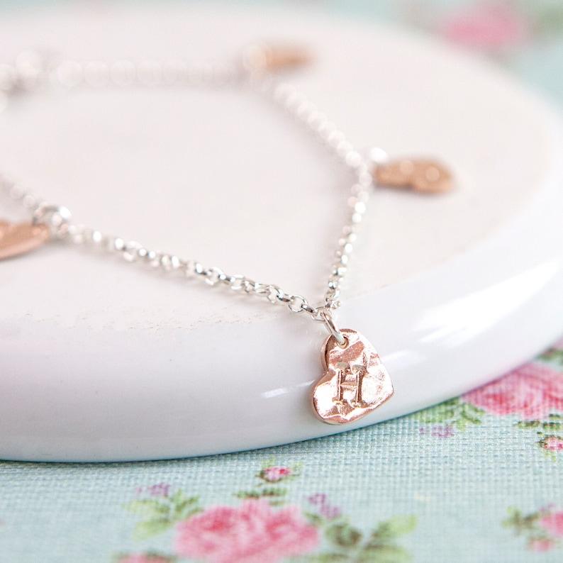 Rose Gold Heart Bracelet  Personalised Charm Bracelet  Gift image 0