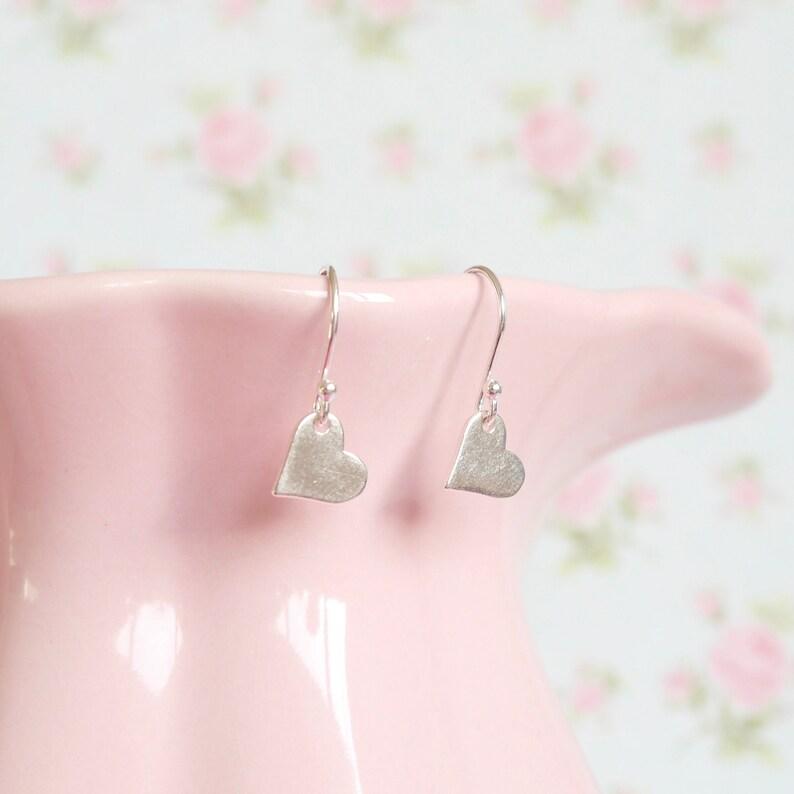Sterling Silver Heart Drop Earrings  Birthday Gift  Nanny image 0