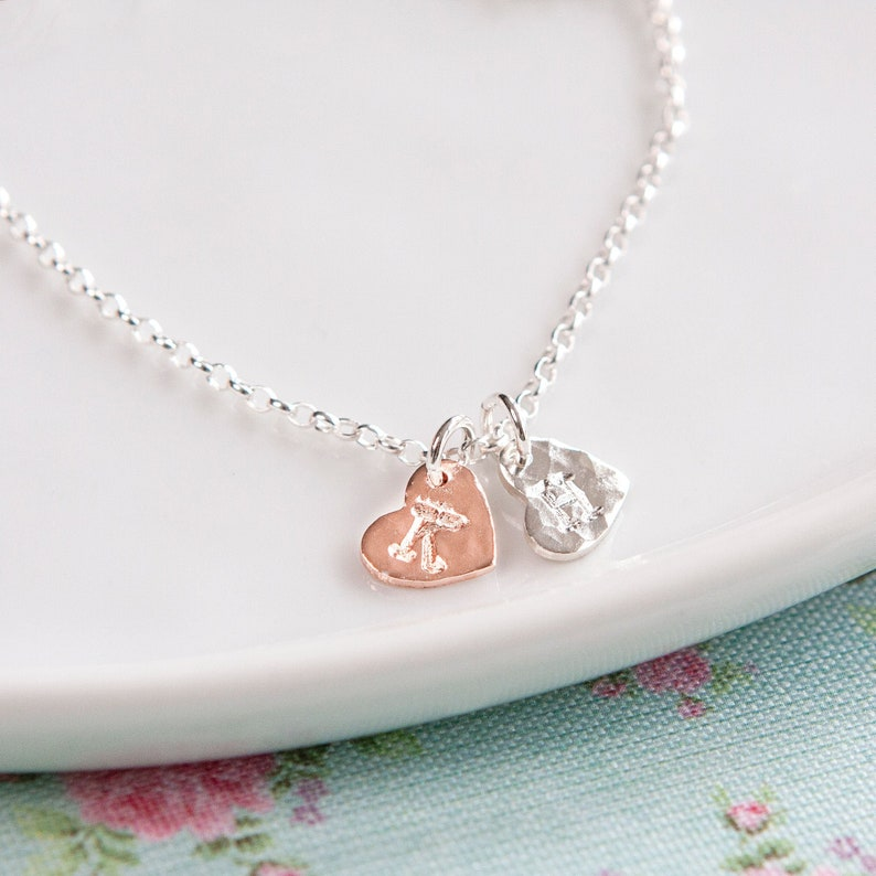 Silver and Rose Gold Heart Bracelet  Personalised Initial image 0