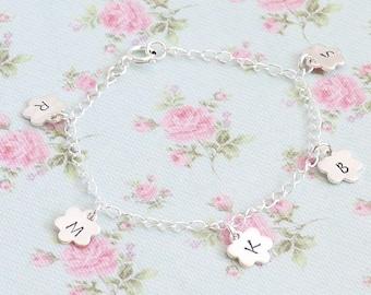 Personalised Flower Charm Bracelet - Birthday Gift for Nanny - Grandma Gift - Mothers Bracelet - Grandchildren's Initials -  Custom Flower