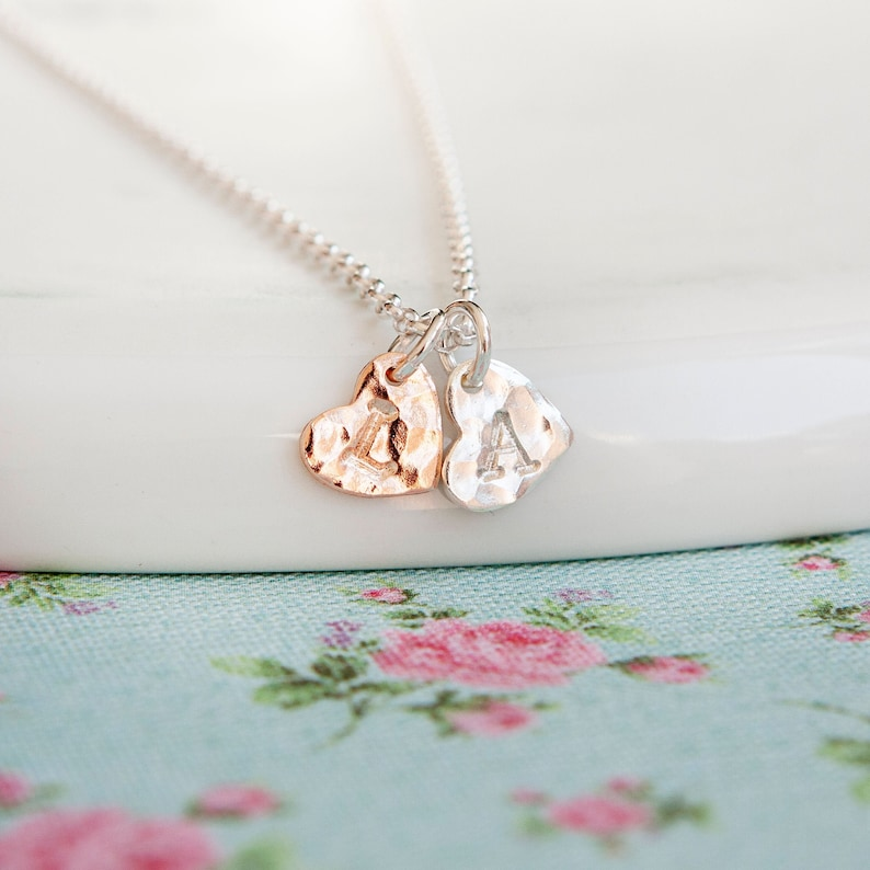 Silver and Rose Gold Heart Necklace  Personalised Initial image 0