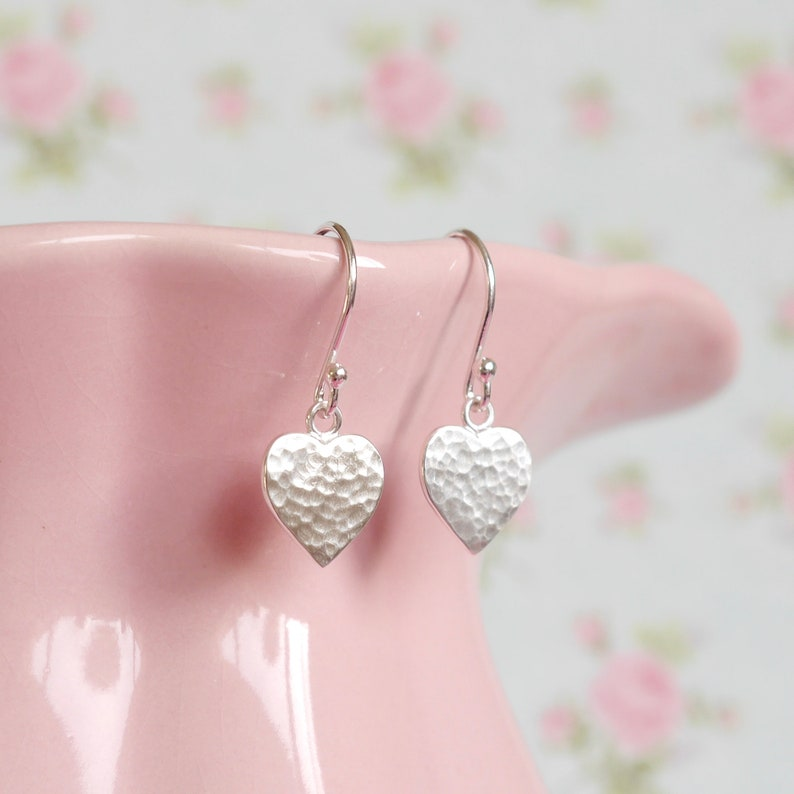 Sterling Silver Heart Earrings  Hammered Heart-Shaped Charm  image 0
