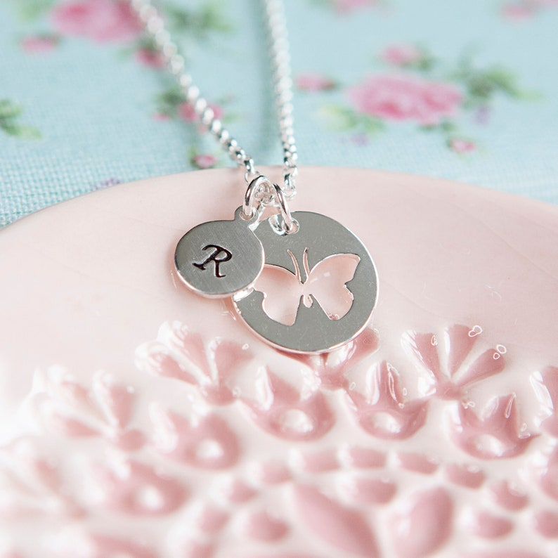 Butterfly Necklace  Initial Necklace  Personalised Butterfly image 0
