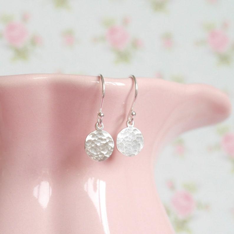 Sterling Silver Textured Disc Drop Earrings  Dangle Earrings image 1