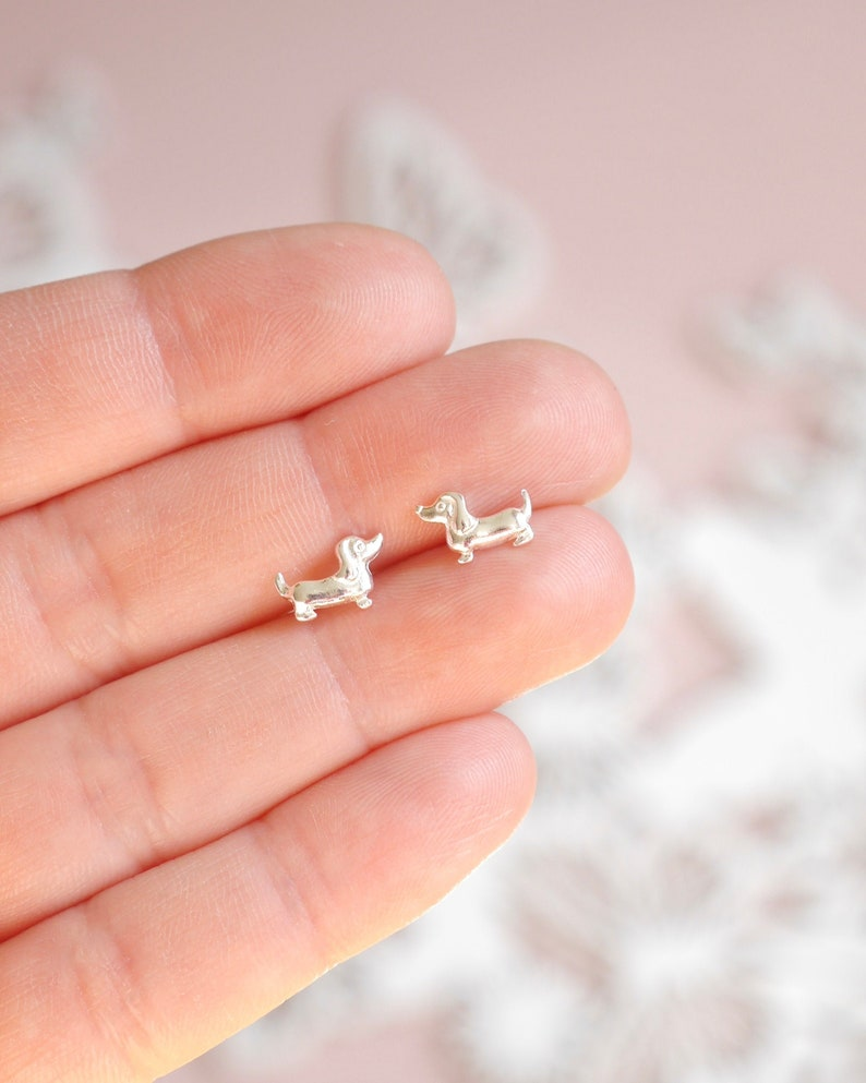 Dachshund Earrings  925 Sterling Silver Sausage Dog Stud  image 0